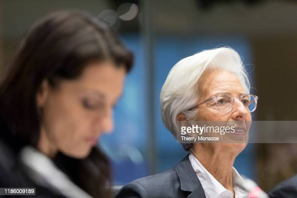 Italian Member of the European Parliament President of the Committee Irene Tinagli and the President of the European Central Bank Christine Lagarde...