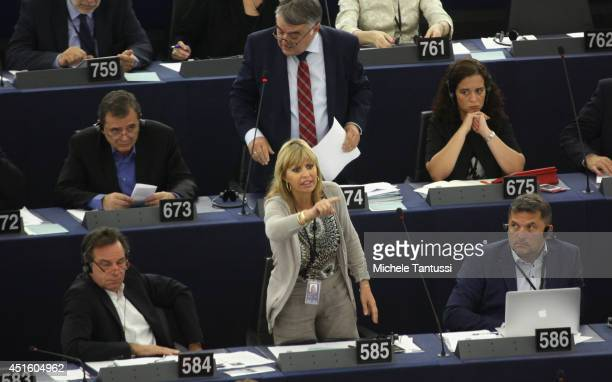Italian MEP Alessandra Mussolini speaks in the plenary room in the European Parliament ahead of the beginning of the sixmonth Italian presidency of...