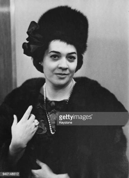 Italian mezzosoprano Fiorenza Cossotto visits the Peter Robinson store in the Strand London to buy a new winter hat circa 1965 She is appearing in...