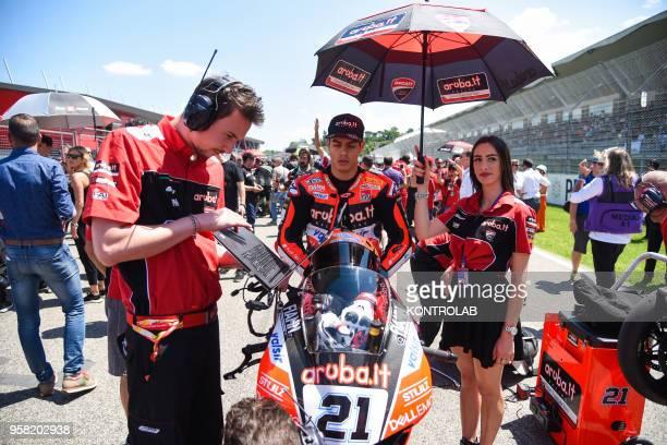Italian Michele Rinaldi on Ducati Panigale R of Arubait Racing Ducati Team waits to starting the Race 2 of Superbike Pata Italian Round Jonathan Rea...