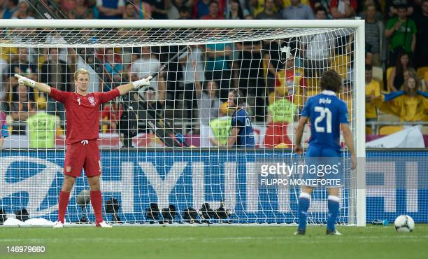 Italian midfielder Andrea Pirlo gets ready to shoots during the penalty shoot out of the Euro 2012 football championships quarter-final match England...