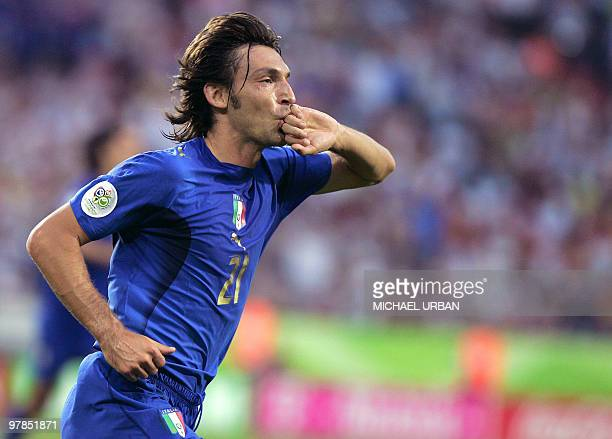 Italian midfielder Andrea Pirlo reacts after scoring during the FIFA World Cup 2006 group E football match Italy vs Ghana 12 June 2006 at Hannover...