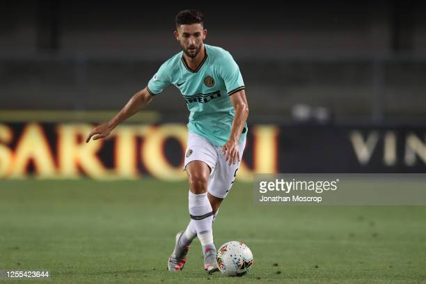 Italian midfielder Roberto Gagliardini of Internazionale drives the ball during the Serie A match between Hellas Verona and FC Internazionale at...