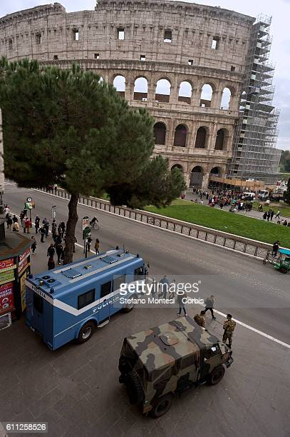 Italian military and police control the area of the Colosseum for strengthened security measures and checks in subway stations and monuments on...