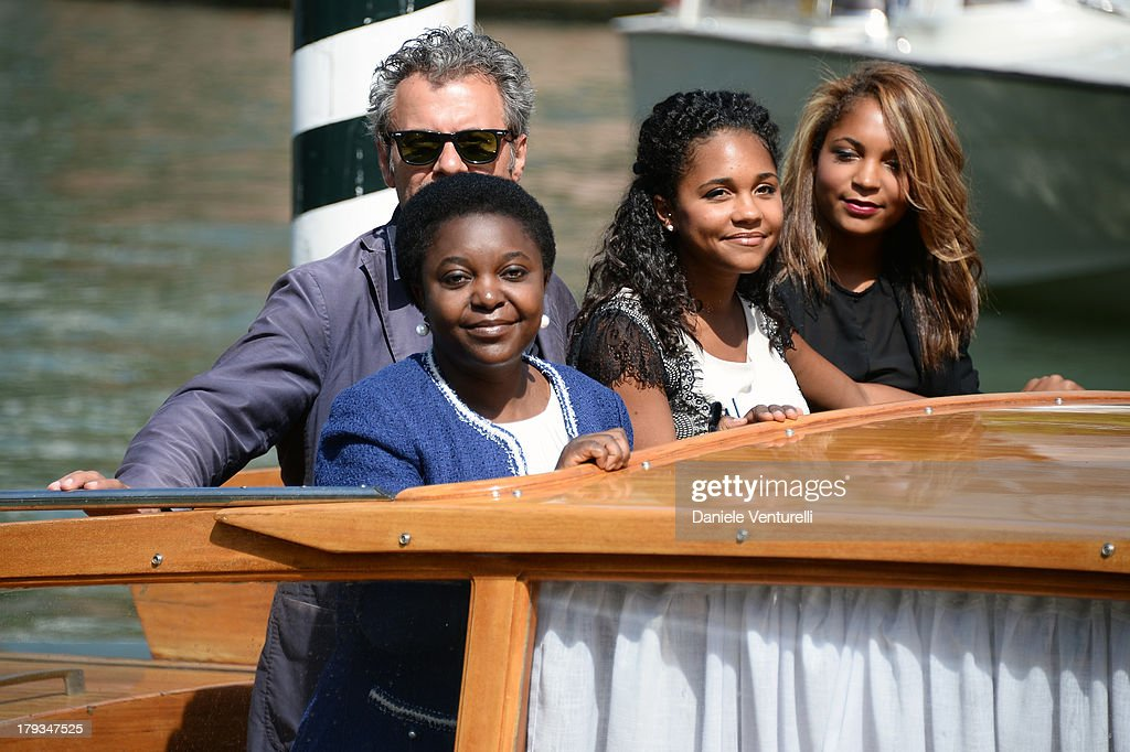 Italian minister Cécile Kyenge, her husband Domenico Grispino and her daughters Maisha and Giulia are seen during the 70th Venice International Film Festival on September 2, 2013 in Venice, Italy.