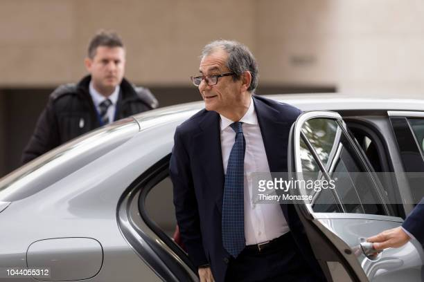 Italian Minister Economy Finance Giovanni Tria arrives for a meeting of Eurogroup ministers at the European Council building on October 1 2018 in...