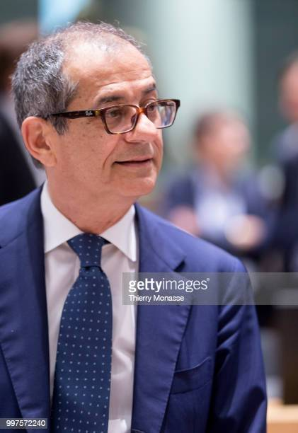 BRUSSELS BELGIUM JULY 13 Italian Minister Economy Finance Giovanni Tria arrives for an EU EcoFin Ministers meeting at the Europa building the...