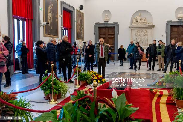 Italian Minister for Cultural Heritage and Activities and Tourism Alberto Bonisoli pay their respects at the burial chamber of the Oscarwinning...