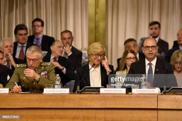 Italian Minister for Defense Roberta Pinotti , Italian Minister for Foreign Affairs Angelino Alfano and Italian Chief of armed forces Claudio...