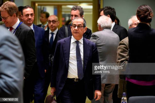 Italian Minister for Economy and Finance Giovanni Tria arrives for an Eurogroup meeting at the EU headquarters in Brussels on December 3 2018
