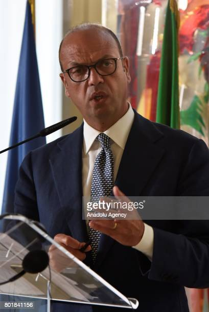 Italian Minister for Foreign Affairs Angelino Alfano and Foreign Minister of Ukrainian Pavlo Klimkin hold a joint press conference after their...