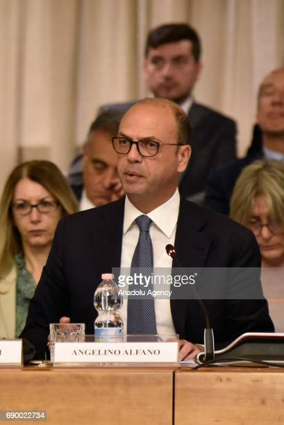 Italian Minister for Foreign Affairs Angelino Alfano speaks during a conference in Rome, Italy on May 30, 2017