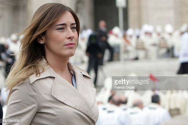 Italian minister for Relations with Parliament Maria Elena Boschi attends the canonisations of Popes John Paul II and John XXIII held by Pope Francis...