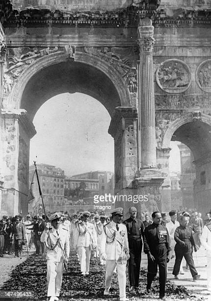 Italian minister of aviation and pilot Italo Balbo after his return from the transatlantic flight to Rome 15th August 1933 Photograph Der...
