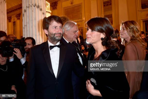 Italian Minister of Cultural Heritage and Activities and Tourism Dario Franceschini arrives with his wife Michela Di Biase at the Teatro alla Scala...