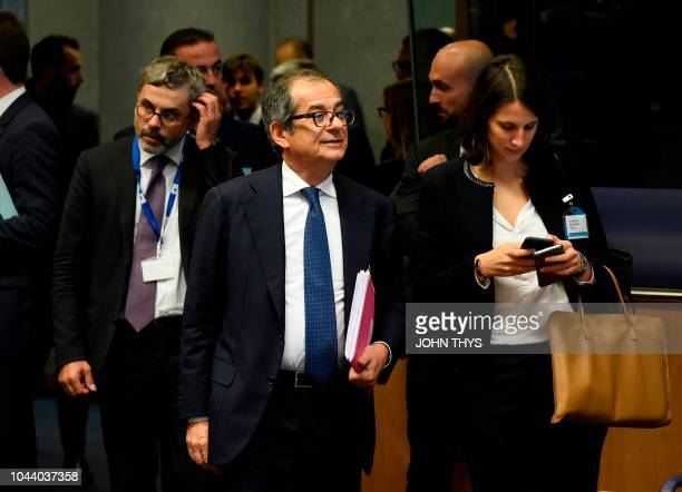 Italian Minister of Economy and Finance Giovanni Tria arrives to attend an Eurogroup meeting at the EU headquarters in Luxembourg on October 1 2018