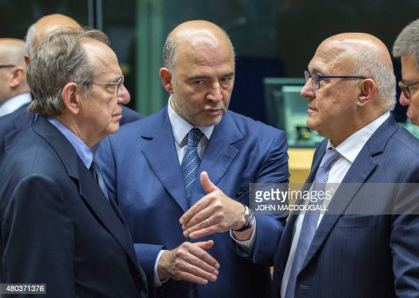 Italian Minister of Economy and Finance Pier Carlo Padoan European Union Commissioner for Economic and Financial Affairs Pierre Moscovici and French...