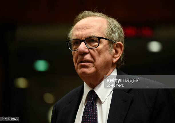 Italian Minister of Economy and Finance Pier Carlo Padoan looks on before an Economic and Financial Affairs meeting at the EU headquarters in...