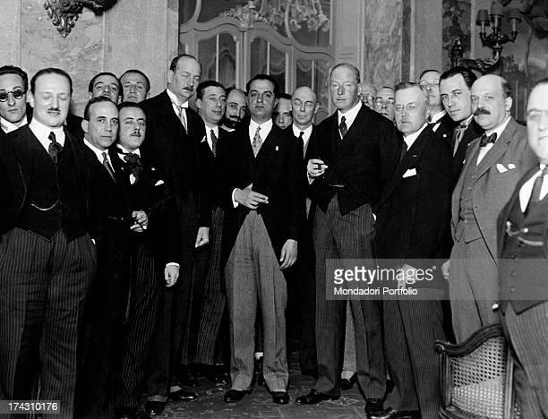 Italian Minister of Education Giuseppe Bottai posing with the promoters of the Center for Humanistic Studies at the University of Berlin Berlin 7th...