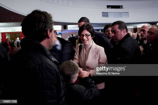 Italian Minister of Education Mariastella Gelmini arrives at a conference for the PDL party to announce their candidate for the 2011 Milan Mayoral...