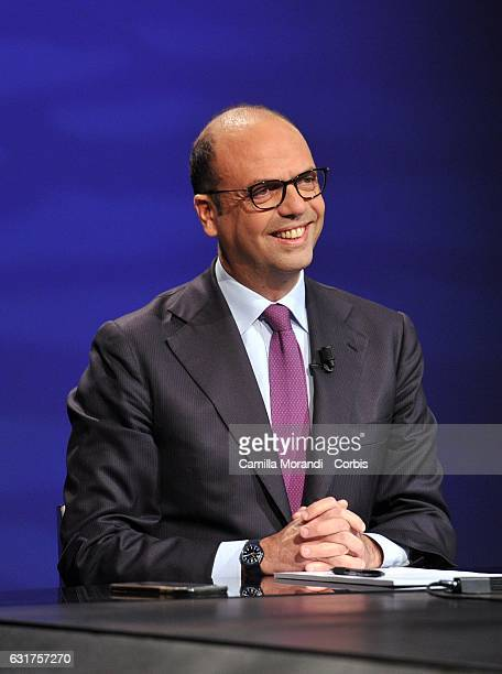 Italian Minister of Foreign Affairs Angelino Alfano Attends TV Show In 1/2 Ora on January 15 2017 in Rome Italy