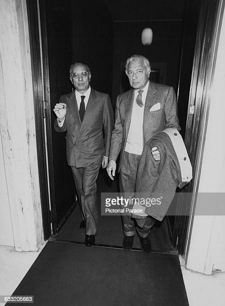 Italian Minister of Foreign Affairs Emilio Colombo with Italian industrialist Gianni Agnelli president of vehicle manufacturer Fiat 1983