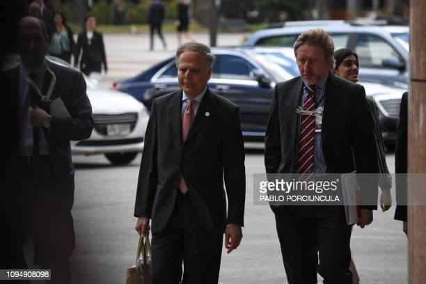 Italian Minister of Foreign Affairs Enzo Maovero arrives for a meeting on Venezuela in Montevideo on February 7 2019 An international meeting to...