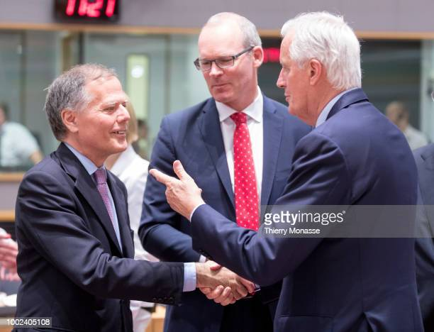 Italian Minister of Foreign Affairs Enzo Moavero Milanesi is talking with the Irish Minister for Foreign Affairs Trade Simon Coveney and the European...
