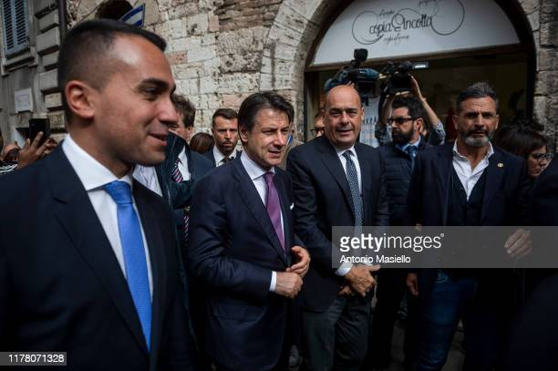 Italian Minister of Foreign Affairs Luigi Di Maio Italian Prime Minister Giuseppe Conte and General Secretary of Democratic Party Nicola Zingaretti...