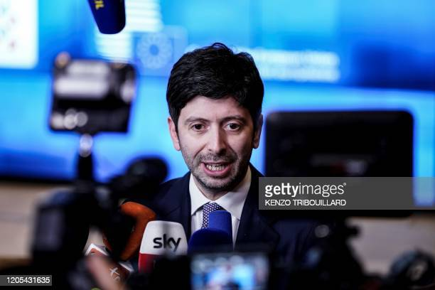 Italian Minister of Health Roberto Speranza answers journalists questions as he leaves EU health ministers meeting on the coronavirus COVID-19 at the...