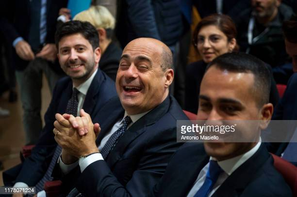Italian Minister of Health Roberto Speranza General Secretary of Democratic Party Nicola Zingaretti and Italian Minister of Foreign Affairs Luigi Di...