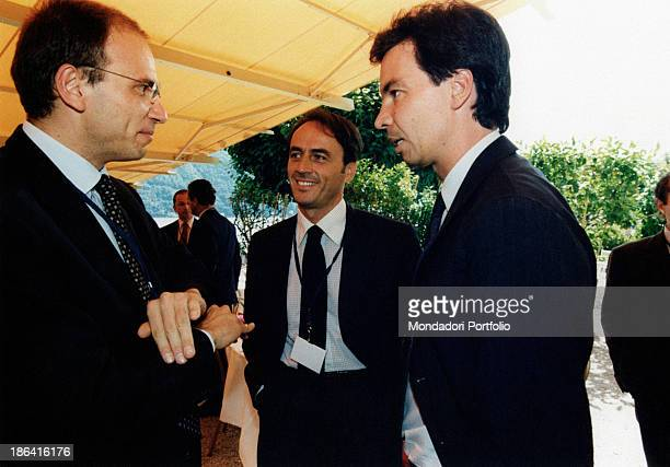 Italian Minister of Industry and Commerce Enrico Letta Italian Technogym entrepreneur Nerio Alessandri and Italian manager Angelo Moratti talking at...