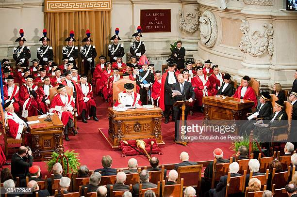 Italian Minister of Justice Angelino Alfano gives a speech during a ceremony for the opening of the judicial year on January 28 2011 in Rome Italy...