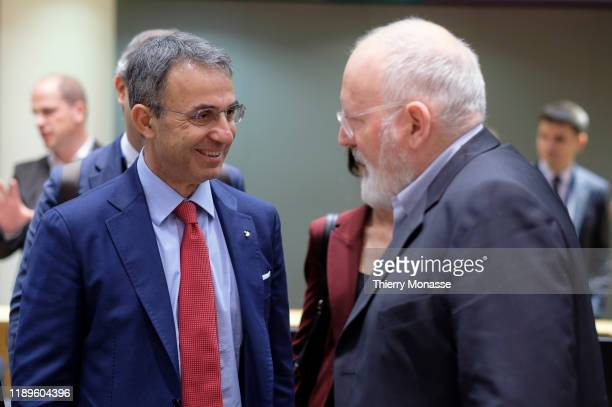 Italian Minister of the Environment Brigadier general Sergio Costa is talking with the EU Commissioner for European Green Deal First Vice President...