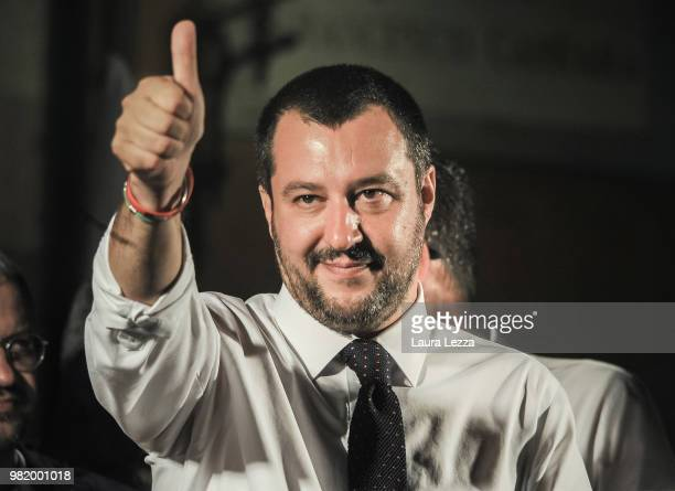 Italian Minister of the Interior and Leader of the Lega Nord Party Matteo Salvini takes a selfie photo during a campaign rally for the ballot on June...