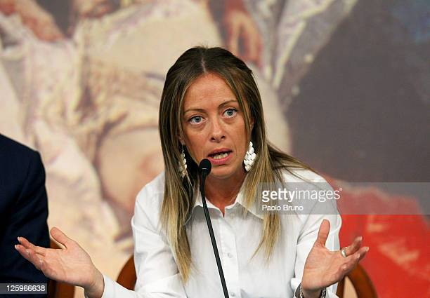 Italian Minister of the Youth Giorgia Meloni attends a press conference at Chigi palace on September 22 2011 in Rome Secretary to the Council of...