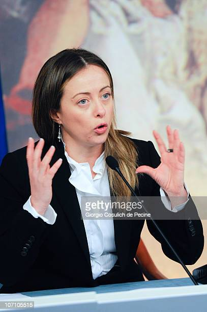 Italian Minister of the Youth Giorgia Meloni gestures while she attends a press conference to present new government measures for the youngsters...