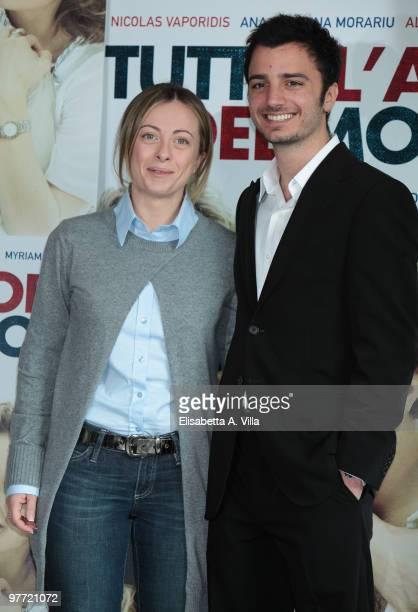 Italian Minister of Youth Giorgia Meloni and actor Nicolas Vaporidis attend Tutto L'Amore Del Mondo photocall at Adriano Cinema on March 15 2010 in...