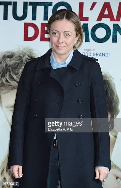 Italian Minister of Youth Giorgia Meloni attends Tutto L'Amore Del Mondo photocall at Adriano Cinema on March 15 2010 in Rome Italy