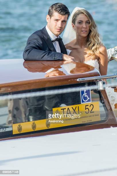 Italian model Alice Campello and Spanish professional footballer Alvaro Morata leave Redentore Church after their wedding on June 17 2017 in Venice...