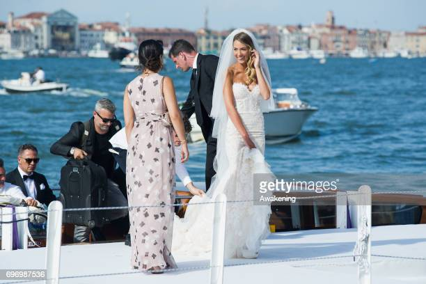 Italian model Alice Campello arrives for her wedding to Spanish professional footballer Alvaro Morata at the Redentore Church on June 17 2017 in...