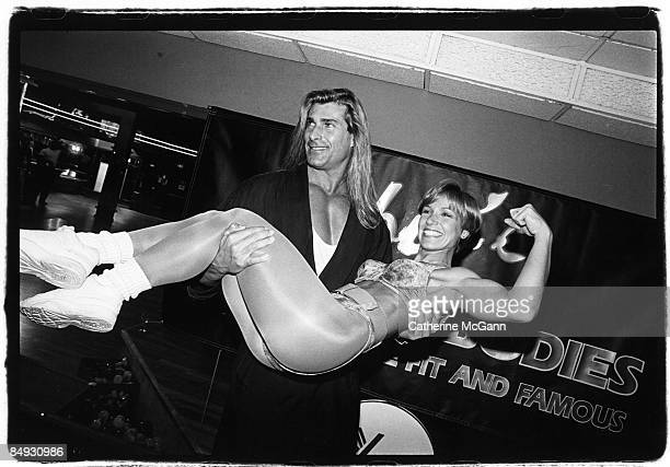 Italian model and actor Fabio picks up an unidentified woman in workout clothing at a party in May 1994 in New York City New York Fabio appeared on...