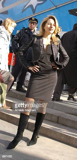 Italian model and entertainer Jo Squillo attends a fashion show February 13 2002 in New York City