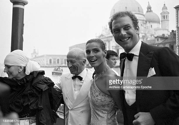 Italian model Antonia Dell'Atte with her husband Jack Cortese in Venice for the 'Tribute to Ingrid' celebration Lido Venice 1983