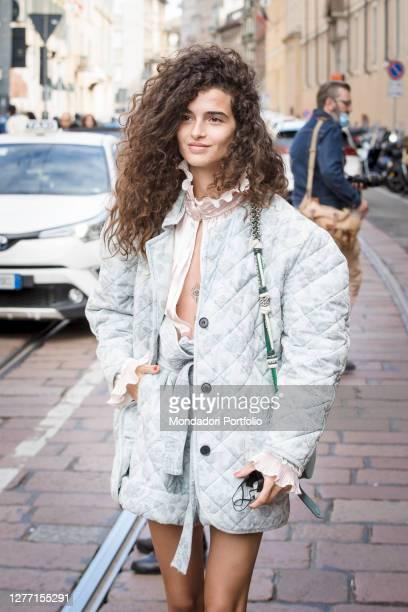 Italian model Chiara Scelsi guest arriving at the Philosophy di Lorenzo Serafini fashion show during Milan Fashion Week 2020. Milan , September 26th,...