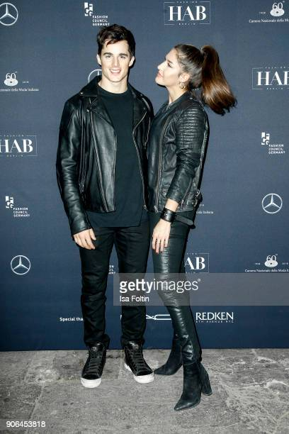 Italian model Pietro Boselli and his girlfriend during the Fashion HAB show presented by MercedesBenz at Halle am Berghain on January 17 2018 in...