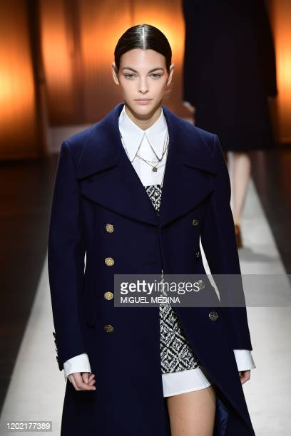 Italian model Vittoria Ceretti presents a creation for Tod's Women Fall - Winter 2020 fashion collection on February 21, 2020 in Milan.