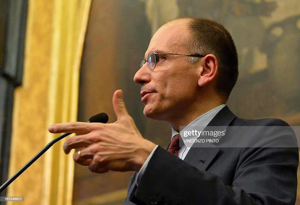 Italian moderate leftist Enrico Letta speaks on April 25, 2013 in Rome, at the end of a meeting with parties delegations as he began complex talks on forming a new coalition government aimed at tackling what the prime minister-designate called a social 'emergency'. The 46-year-old Letta, who would be one of Europe's youngest leaders if he succeeds, has said he wants a government that is more in tune with the needs of ordinary Italians and that can steer away from harsh austerity measures.s