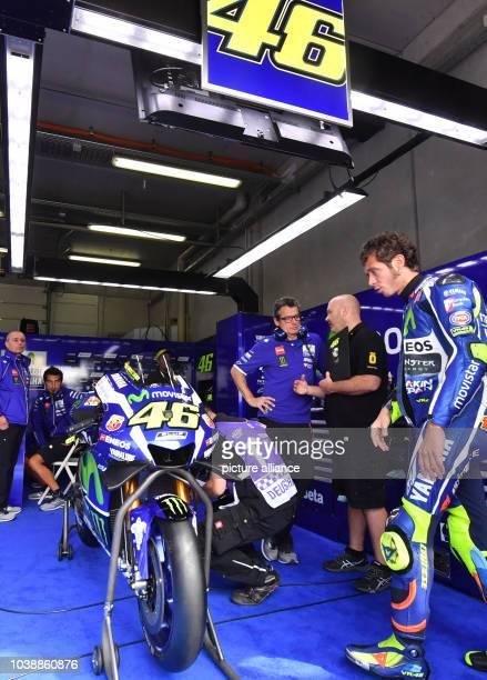 Italian MotoGP driver Valentino Rossi of the Movistar Yamaha MotorGP team prepares himself for the third free training at otorcycling World...