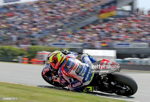 Italian MotoGP driver Valentino Rossi of the team Movistar Yamaha MotoGP drives on the course during the qualifying at Motorcycling World...